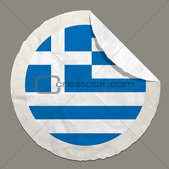 Greece flag on a paper label