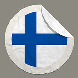 Finland flag on a paper label