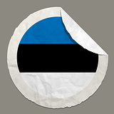 Estonia flag on a paper label