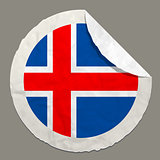 Iceland flag on a paper label