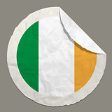 Ireland flag on a paper label