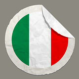 Italy flag on a paper label