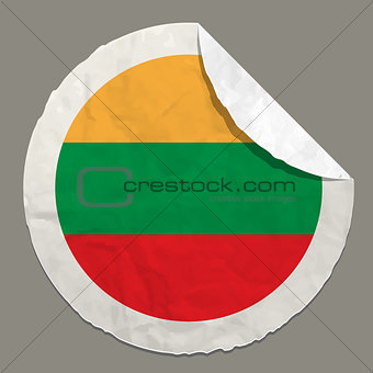 Lithuania flag on a paper label