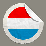 Luxembourg flag on a paper label