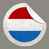 Netherlands flag on a paper label