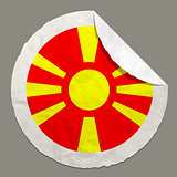Macedonia flag on a paper label