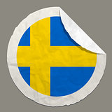 Sweden flag on a paper label