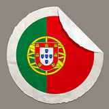 Portugal flag on a paper label