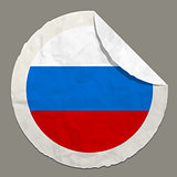 Russia flag on a paper label