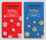 Christmas sale cards. Vector.