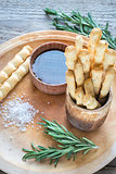 Rosemary breadsticks with ingredients
