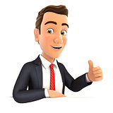 3d businessman with his elbow on the wall and thumb up