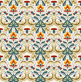 Gorgeous flower pattern vector image with small details ornament. Red, yellow, sea blue flowers with brown leafs for linens and home textile design. White background.