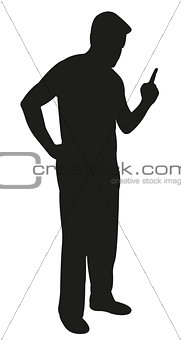 angry father scolding, pointing finger, silhouette vector
