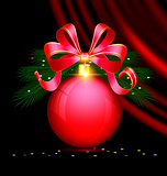 Christmas red ball and drape