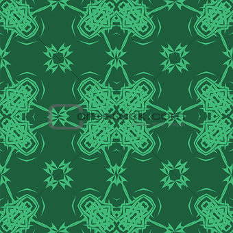 Green Ornamental Seamless Line Pattern