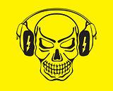 Skull listening to music