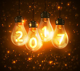 Text for new year 2017 numbers written in lamps