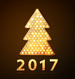 Retro light banner a Christmas tree with 2017 new year symbol