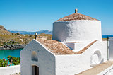View on typical greek Church in Rhodes Island, Greece