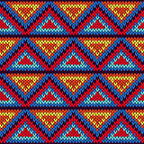 Seamless knitted ornamental pattern with triangles