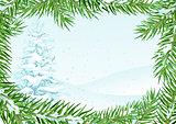 Winter landscape with snow fir. Fir branch under snow frame