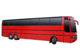 Triaxial red bus.