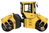 Yellow road roller.