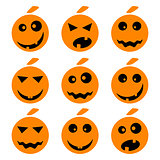 Halloween pumpkin emoji emoticons set