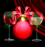 Christmas red ball and two glasses