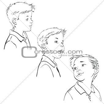 Three emotions of the boy