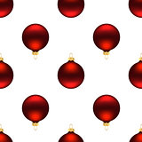 Seamless red christmas balls