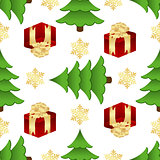 Christmas pattern with gifts and spruces