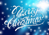 Christmas Card. Merry Christmas lettering on a blue background. Vector illustration for banners labels postcards prints posters web