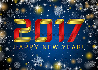 Abstract glowing golden blur snow vector background for text, type, quote. Happy New Year 2017 gold glitter new year background for banner, poster, web, header