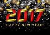 Happy new year 2017. Black space abstraction. Happy new year card. Gold template over black background with golden lights. Vector illustration