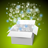 Open white gift box on the snow. Christmas green background