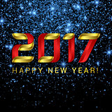 2017 Happy New Year greeting card with blue stars and lights on black background