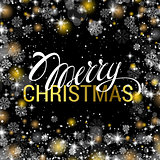 Christmas shining on black background with shiny gold and white snowflakes. It is snowing on the background of the creative gift card. Merry Christmas. Vector illustration