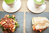 salad, sandwich and matcha green tea at restaurant