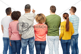 group of people pointing to something