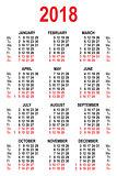 Calendar 2018 grid template