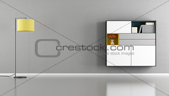 Modern living room with sideboard on wall