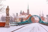 Tumski Bridge in snowy winter day, Wroclaw, Poland