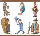wild west people cartoon set