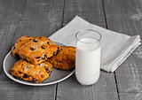 Glass of milk with fresh scones with raisins