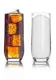 Glasses of cola and sugar unhealthy soda drink