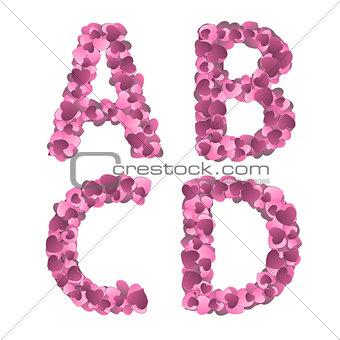 Valentine s Day Alphabet of Hearts Vector Illustration