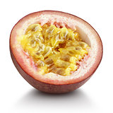 Half of passion fruit isolated on white background