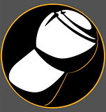champagne cork black circle logo on a gray background